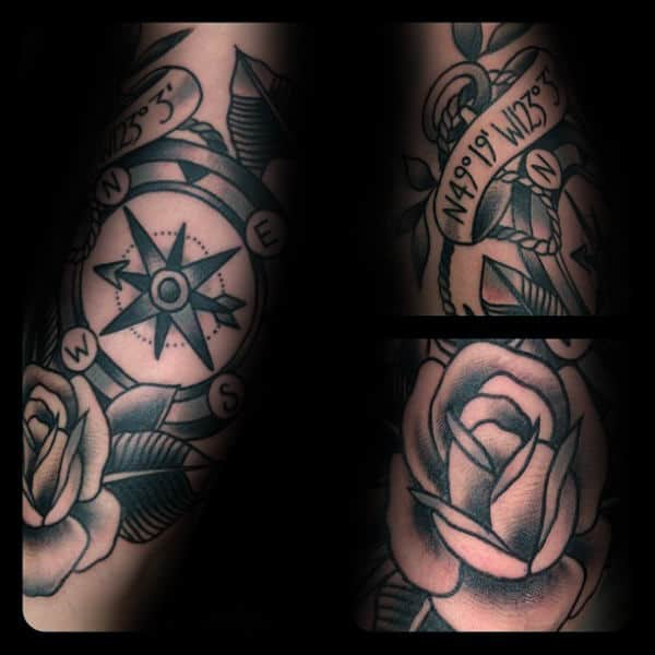 Shaded Black Ink Mens Traditional Compass And Rose Forearm Tattoos