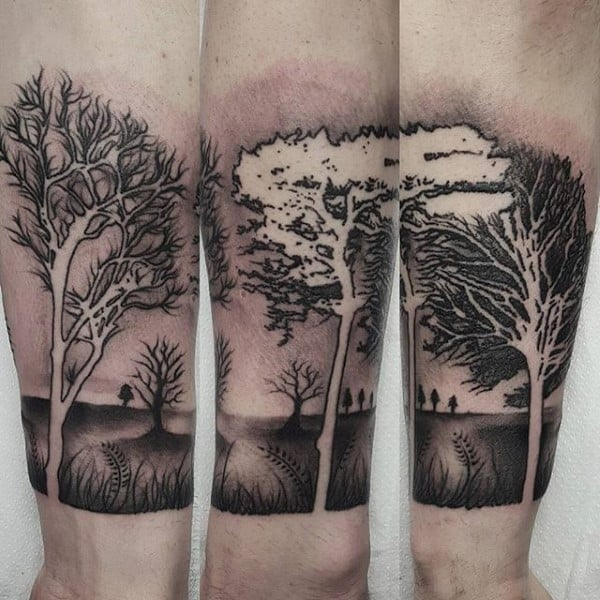Shaded Black Ink Negative Space Forearm Tree Tattoos For Men