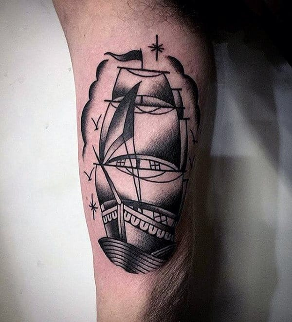 Shaded Black Ink Old School Sailing Ship Inner Arm Bicep Tattoos For Men