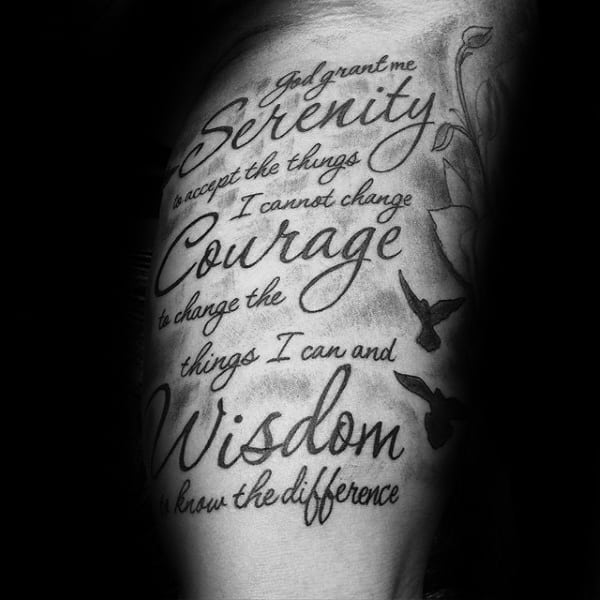 50 Serenity Prayer Tattoo Designs For Men Uplifting Ideas