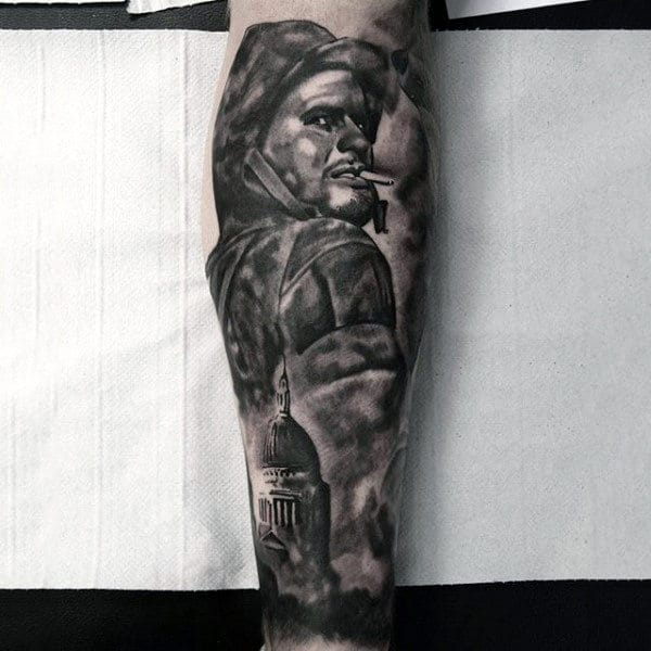 Shaded Black Ink Solider Army Mens Forearm Sleeve Tattoo Ideas