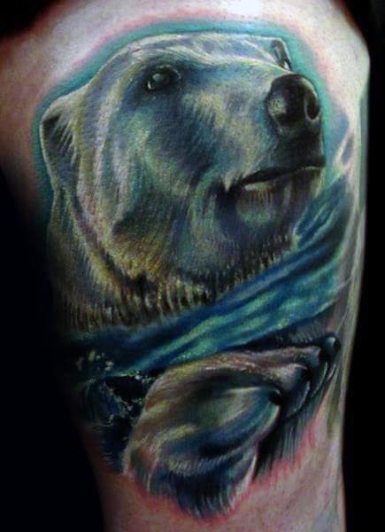Shaded Blue Ink Swimming Polar Bear In Water Mens Arm Tattoo