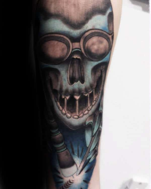 Shaded Blue Welding Male Tattoo Ideas