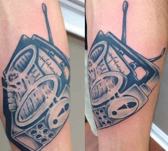 Shaded Boombox Guys Forearm Tattoo Ideas