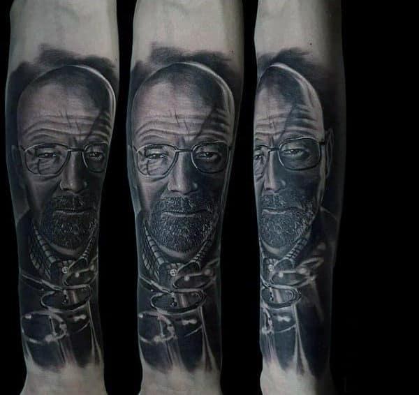 Shaded Breaking Bad Guys Inner Forearm Sleeve Tattoo