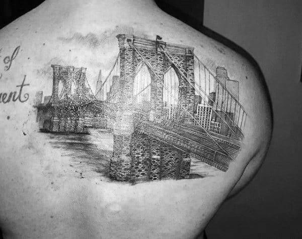 Shaded Brooklyn Bridge Upper Back Tattoo On Gentleman