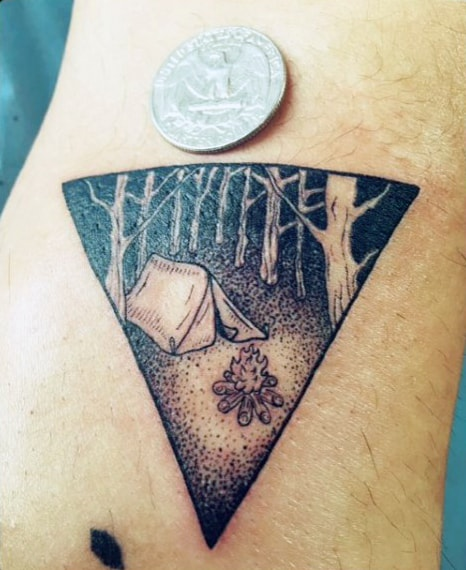 Shaded Camping Design In Triangle Tattoo On Arms