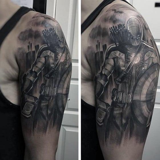 Shaded Captain America Marvel Mens Black And Grey Half Sleeve Tattoo