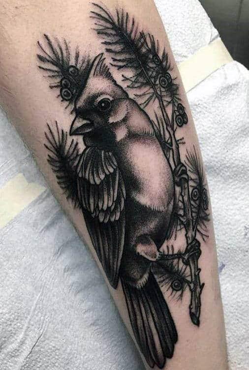 Shaded Cardinal Black And Grey Ink Guys Arm Tattoo Inspiration
