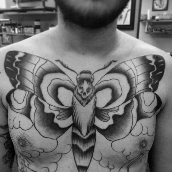 Shaded Chest Male Traditional Moth Tattoo Design Ideas