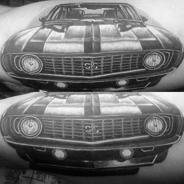 Shaded Chevrolet Ss Mens Inner Arm Bicep Tattoos