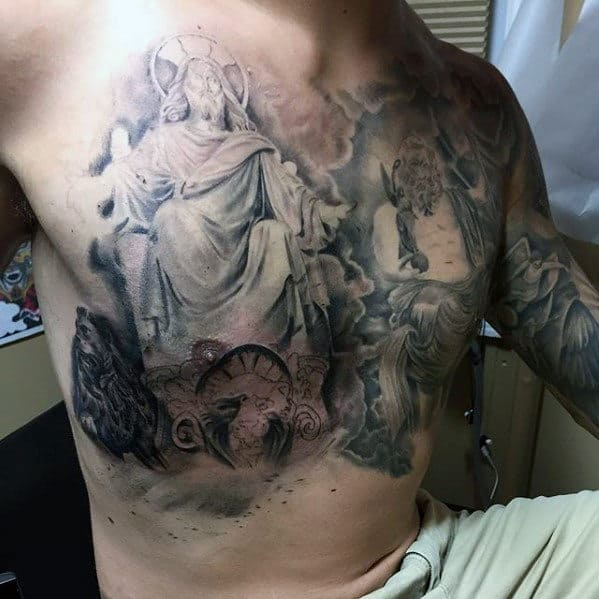Shaded Christian Guys Jesus Tattoos On Chest