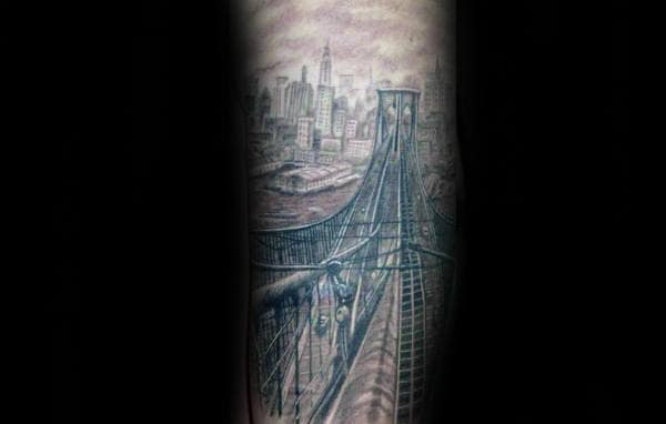 Shaded City Buildings With Bridge Male Leg Tattoo Ideas
