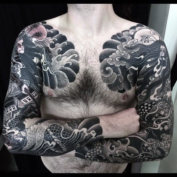 Shaded Clouds With Ocean Waves Guys Japanese Upper Chest Tattoos