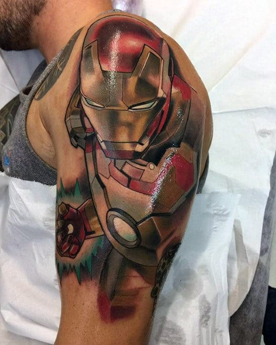 Shaded Color Mens Ironman Marvel Mens Arm Tattoo Designs
