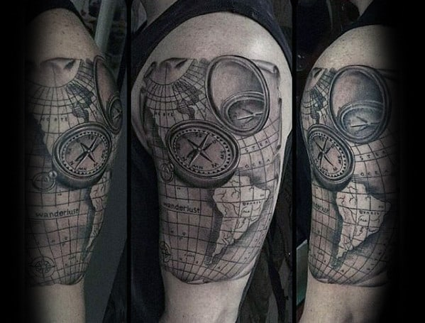 Shaded Compass With World Map Guys Wanderlust Arm Tattoo