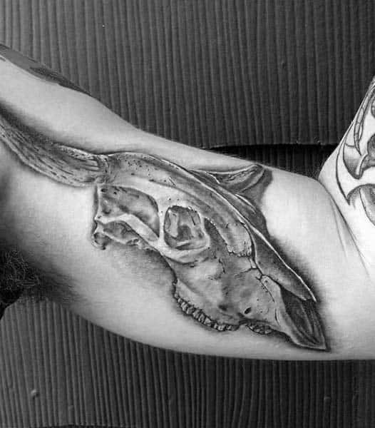 Shaded Cracked Bull Skull Male Bicep Tattoos
