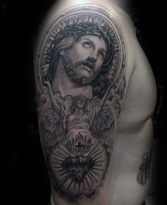 Shaded Creative Jesus Male Arm Tattoo With Religious Theme