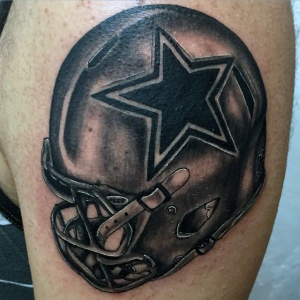 Shaded Dallas Cowboys Football Helmet Mens Arm Tattoo