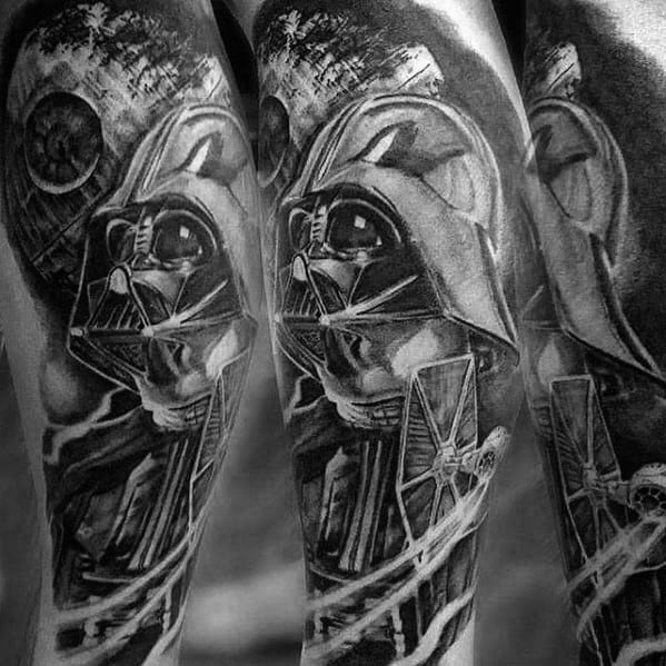 Shaded Darth Vader Themed Black And Grey Ink Sleeve Death Star Tattoo Designs For Guys
