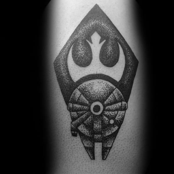 Shaded Dotwork Forearm Rebel Alliance Male Tattoo Ideas