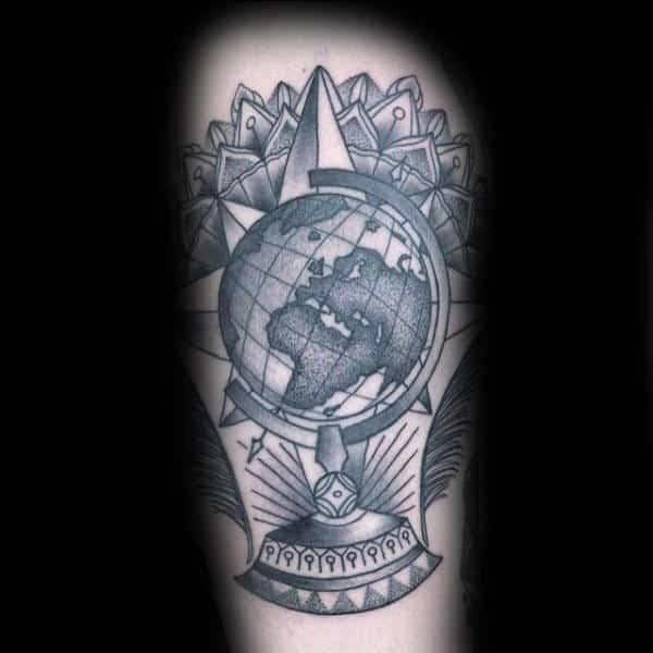 Shaded Dotwork Globe Mens Floral Arm Tattoo