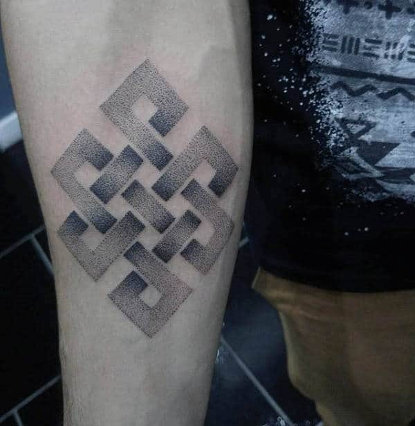 Shaded Dotwork Male Endless Knot Inner Forearm Tattoos