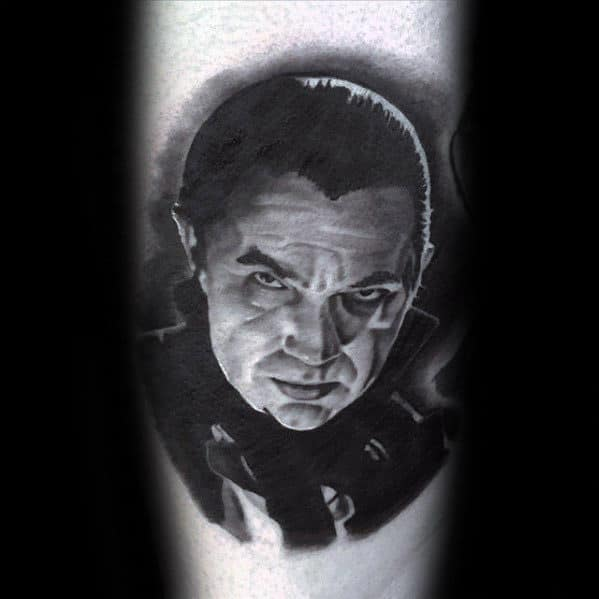 Shaded Dracula Male Black And Grey Ink Tattoo On Arms
