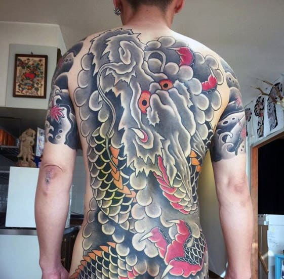 Shaded Dragon Cloud Guys Japanese Back Tattoos