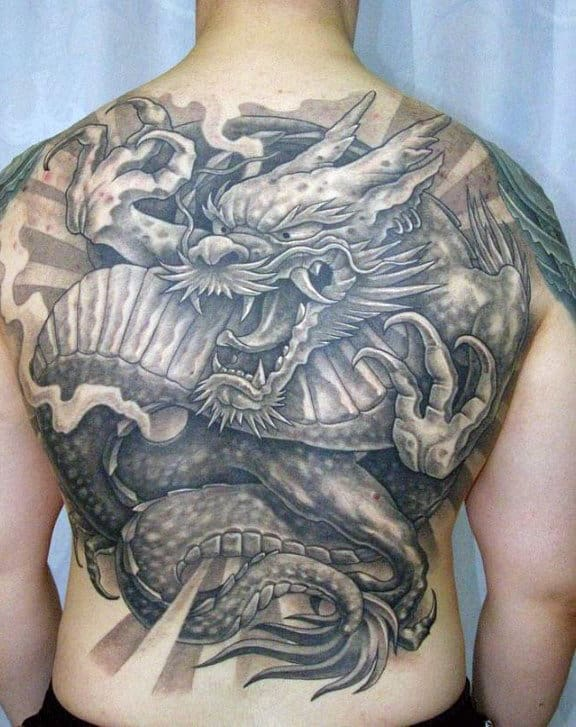 Shaded Dragon Male Black And Grey Back Tattoos