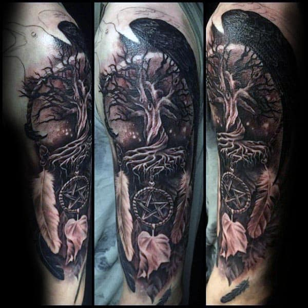 Shaded Dreamcatcher Guys Tree Of Life Half Sleeve Tattoo