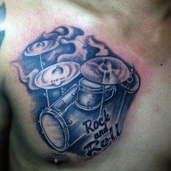Shaded Drums Rock And Roll Mens Upper Chest Tattoos