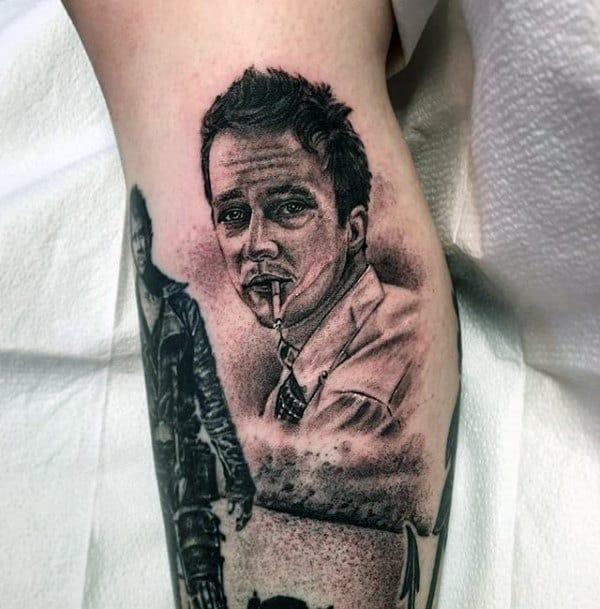 Shaded Fight Club Tyler Durden Mens Leg Tattoo Designs