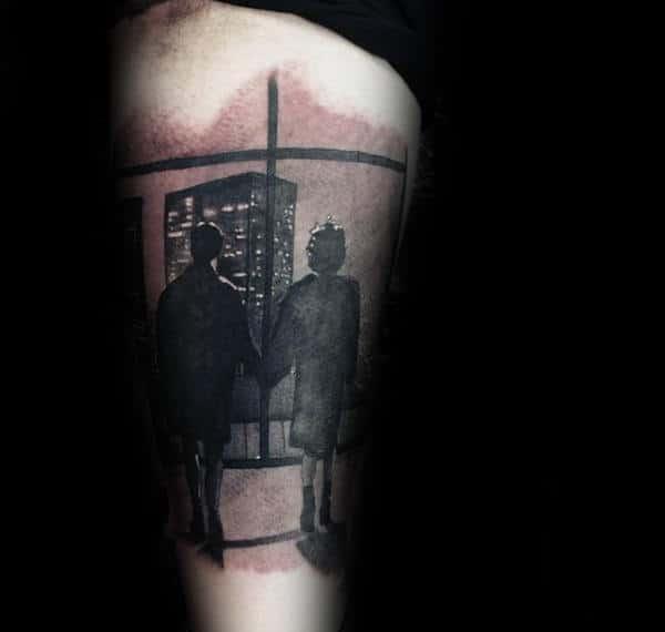 Shaded Fight Club Winder Scene Mens Arm Tattoo Inspiration