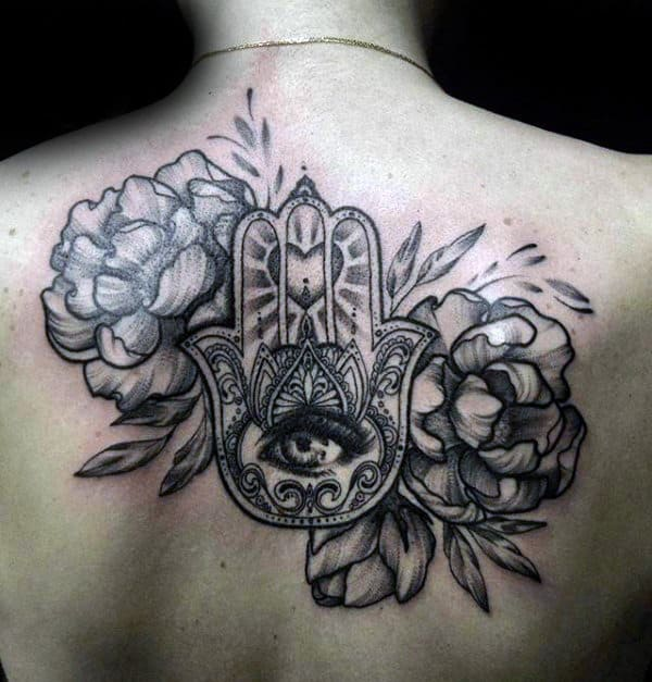 Shaded Flowers With Hamsa Guys Upper Back Tattoo