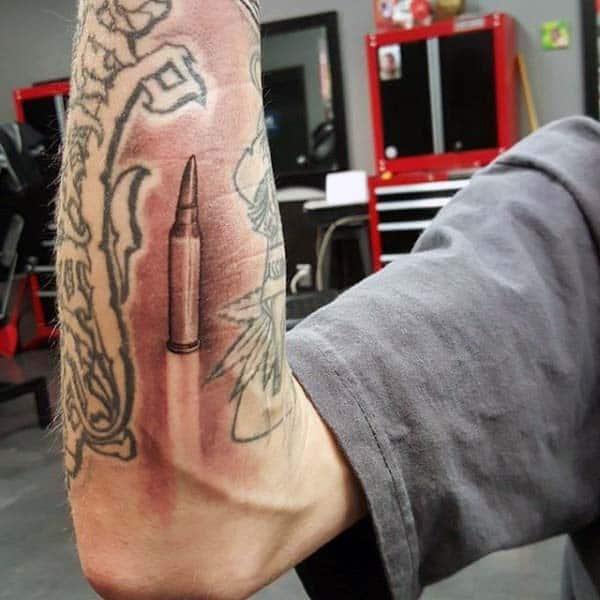 Shaded Flying 3d Mens Bullet Tattoo On Forearm