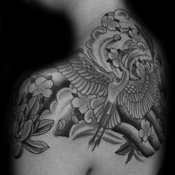Shaded Flying Bird Crane Mens Japanese Upper Back Tattoo