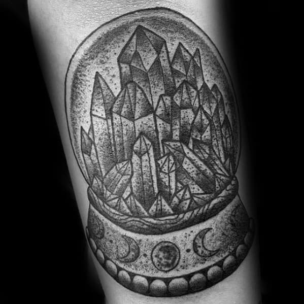 Shaded Forearm Amazing Mens Crystal Ball Tattoo Designs
