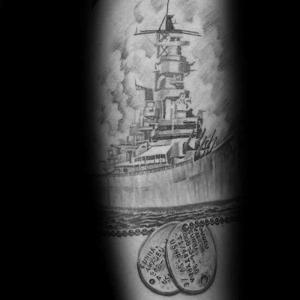Shaded Forearm Military Battleship Male Tattoos