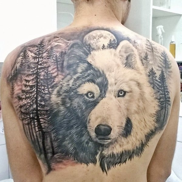 Shaded Forest Tree Wolf Back Tattoos For Men