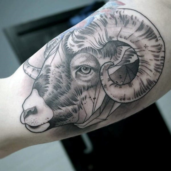 Shaded Geometrical Ram Bicep Tattoos For Males