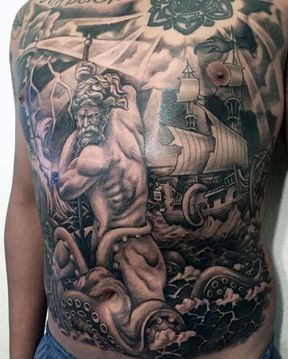 Shaded Greek God Octopus Guys Full Black And Grey Chest Tattoo