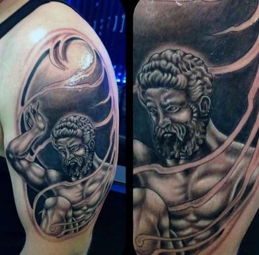 Shaded Greek Mythology Atlas Mens Upper Arm Tattoos
