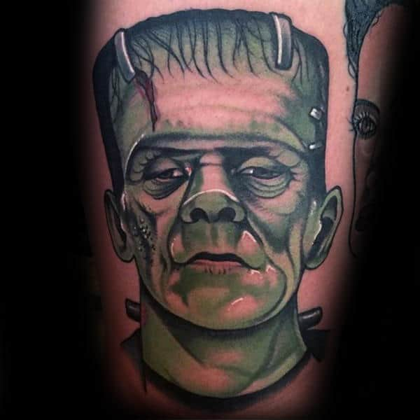Shaded Green Male Frankenstein Arm Tattoos