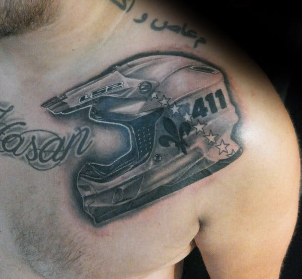 Shaded Grey And Black Ink Motocross Guys Upper Chest Tattoo
