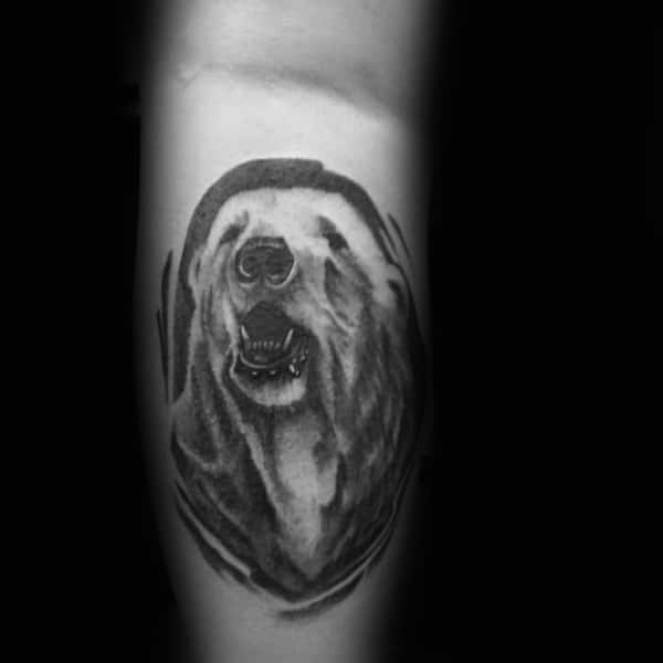Shaded Grey And Black Ink Tattoo Of Polar Bear On Gentleman