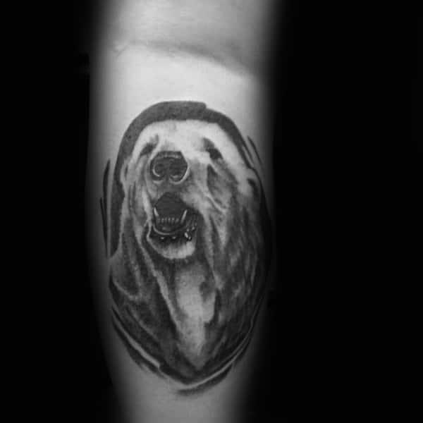 Shaded Grey And Black Ink Tattoo Of Polar Bear On Gentleman