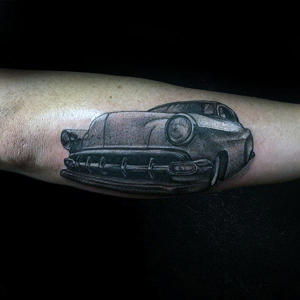 Shaded Grey And Black Mens Retro Outer Forearm Chevy Car Tattoo Ideas