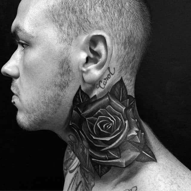 Shaded Grey And Black Rose Male Neck Tattoos