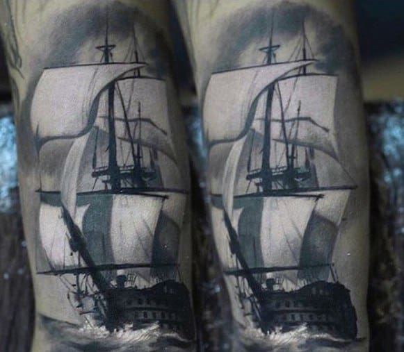 Shaded Grey And White Sailing Ship Arm Male Rad Tattoo Ideas